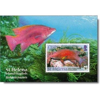 Fische, Lippfisch - Briefmarkenblock postfrisch, St. Helena