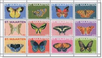 Schmetterlinge, zwölf Briefmarken postfrisch, Sint Maarten