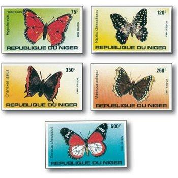 Schmetterlinge - 5 Briefmarken ungezähnt postfrisch, Katalog-Nr. 867-871, Niger