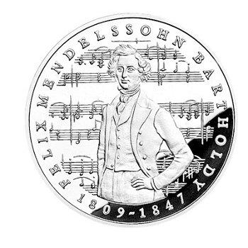 """5-DM-Münze """"175. Geburtstag Mendelssohn-Bartholdy"""", Polierte Platte"""