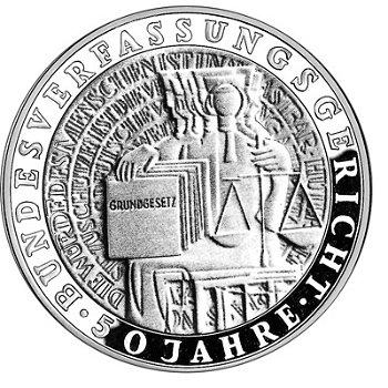 """10-DM-Silbermünze """"50 Jahre Bundesverfassungsgericht"""", Stempelglanz"""