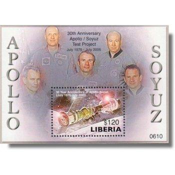 30 Jahre Apollo-Sojus Test Projekt - Briefmarken-Block postfrisch, Liberia