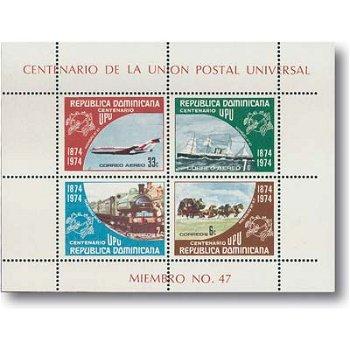 100 Jahre Weltpostverein - Block Nr. 37, Kat.-Nr. 1068-71 postfrisch, Dominikanische Repu.