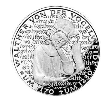 """5-DM-Münze """"750. Todestag Walther von der Vogelweide"""", Polierte Platte"""