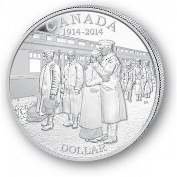 100 Jahre Erster Weltkrieg - Silberdollar 2014, 1 Dollar Silbermünze, Canada