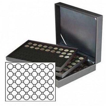 Münzkassette NERA XL mit 3 Tableaus, schwarze Münzeinlagen f. 90 Münzkapseln mit Außen-Ø 37 mm, z.B.