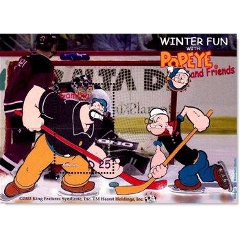 Comic: Popeye beim Eishockey - Briefmarken-Block postfrisch, Gambia
