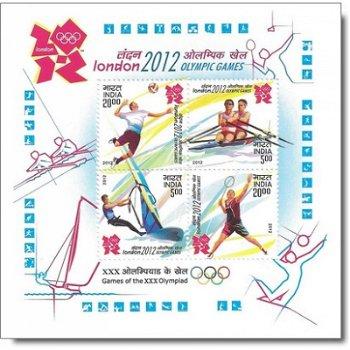 Olympische Sommerspiele 2012 – Briefmarken-Block postfrisch, Katalog-Nr. 2658-2661, Block 102, Indie