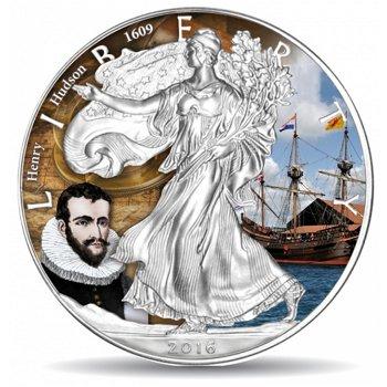 Silber Eagle: Henry Hudson, 1 Dollar Silbermünze mit Farbauflage, USA
