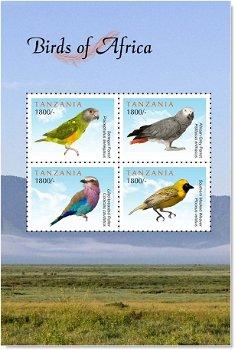 Vögel aus Afrika - Briefmarkenblock postfrisch, Tansania