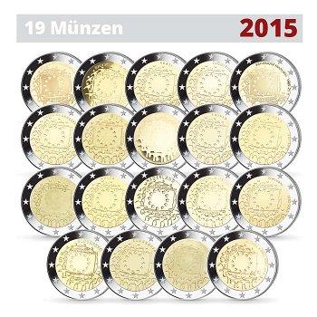 30 Jahre Europaflagge, 2 Euro Münze 2015, alle 19 Münzen