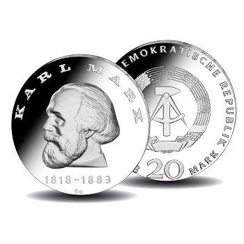 150. Geburtstag Karl Marx, 20-Mark-Münze 1968, DDR