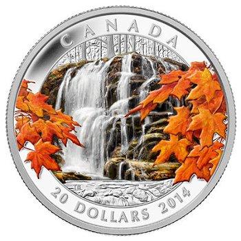 Wasserfall im Herbst, 20 Dollar Silbermünze Canada
