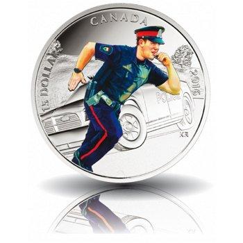 Nationale Helden: Polizei, 15 Dollar Silbermünze mit Farbauflage, Canada
