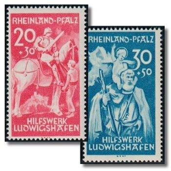 Hilfswerk Ludwigshafen - 2 Briefmarken postfrisch, Katalog-Nr. 30-31, Französische Zone Rheinland Pf
