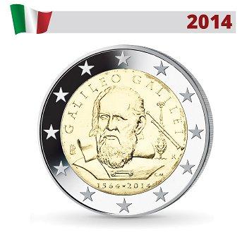 450. Geburtstag von Galileo Galilei, 2 Euro Münze 2014, Italien