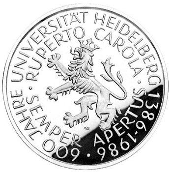 """5-DM-Münze """"600jähriges Bestehen der Universität Heidelberg"""", Stempelglanz"""
