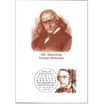 200. Geburtstag Theodor Mommsen - Maximumkarte gestempelt, Deutschland