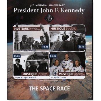 John F. Kennedy / The Space Race - Briefmarken-Block postfrisch, St. Vincent & Grenadinen