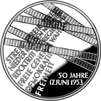 50 years of popular uprising June 17, 1953, 10 euro silver coin 2003, brilliantly uncirculated