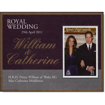 Königliche Hochzeit William und Kate - Briefmarken-Block, Jungferninseln