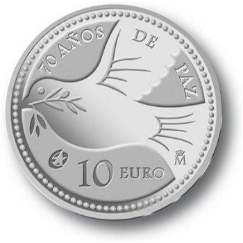 70 Jahre Frieden in Europa, 10 Euro Silbermünze, Spanien
