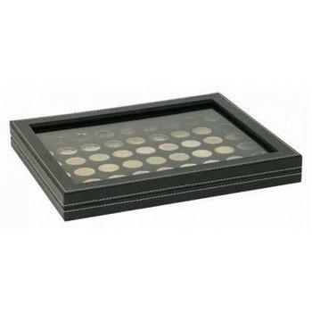 Nera Münzkassette M mit Sichtfenster für 2 Euro Münzen, Münzeinlage schwarz, Lindner 2367-2154CE