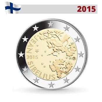 150. Geburtstag Jean Sibelius, 2 Euro Münze 2015, Finnland