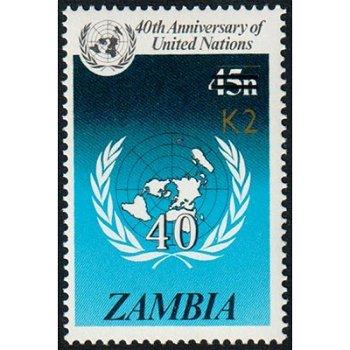 40 Jahre UNO - Briefmarke mit lokalem Aufdruck, Katalog-Nr. 570, Sambia