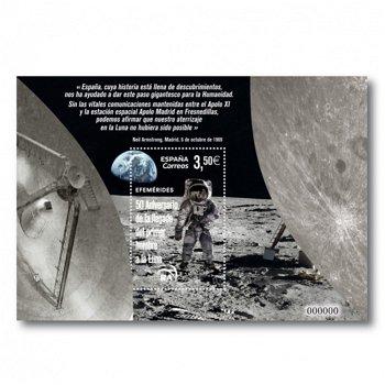 Weltraum: 50 Jahre Mondlandung - Briefmarkenblock postfrisch, Spanien