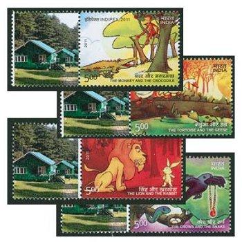 Internationale Briefmarkenausstellung INDIPEX 2011, Neu-Delhi: Pancatantra-Erzählungen - Briefmarken