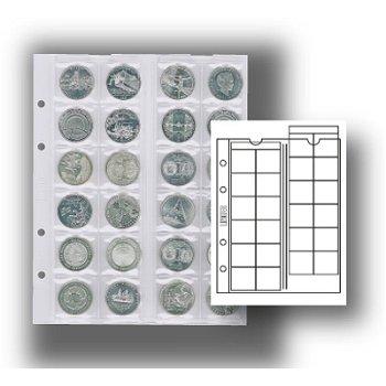 Multi collect-Münzblätter für 24 Münzen, mit schwarzem Zwischenblatt, 5er-Pack, Lindner MU24