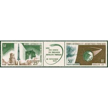 Erster franz. Satellit im Weltraum - 2 Briefmarken postfrisch, Katalog-Nr. 33-34, TAAF