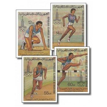 Olympische Sommerspiele 1980, Moskau - 4 Briefmarken ungezähnt postfrisch, Katalog-Nr. 652-655, Maur