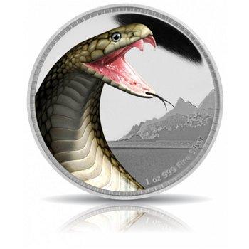 Schlangen: Die Königskobra, Silbermünze mit Farbauflage, Niue