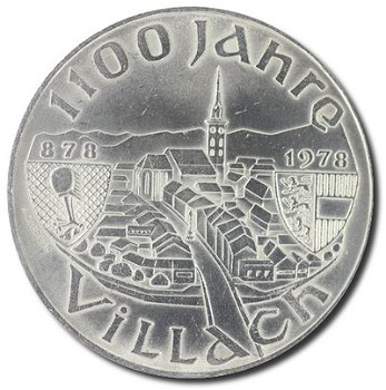 """100-Schilling-Münze """"1100 Jahre Villach"""", Österreich"""