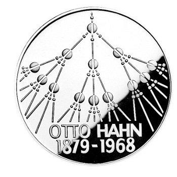 """5-DM-Münze """"100. Geburtstag Otto Hahn"""", Polierte Platte"""