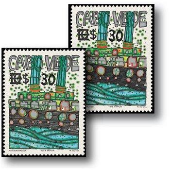 Friedensreich Hundertwasser: Schifffahrt - 2 Briefmarken postfrisch, Katalog-Nr. 496 I und II, Kap V