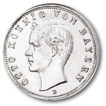 2 Mark Silbermünze, König Otto, Katalog-Nr. 45, Königreich Bayern
