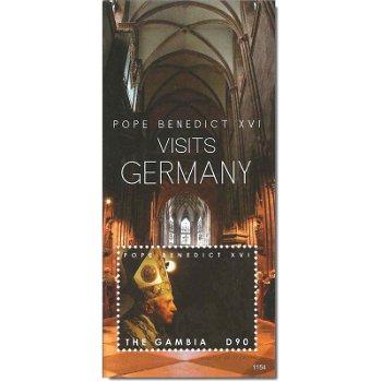 Besuch von Papst Benedikt XVI. in Deutschland – Briefmarken-Block postfrisch, Gambia