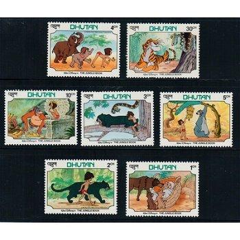 """Disney """"Das Dschungelbuch"""" - 7 Briefmarken postfrisch, Bhutan"""