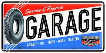 Blechschild:Garage- Service and Repairs -(Nostalgic Art, 25 x 50 cm)