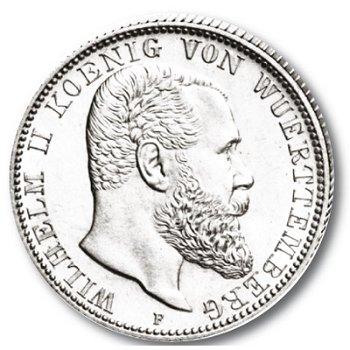 2 Mark Silbermünze, König Wilhelm II., Katalog-Nr. 174, Königreich Württemberg
