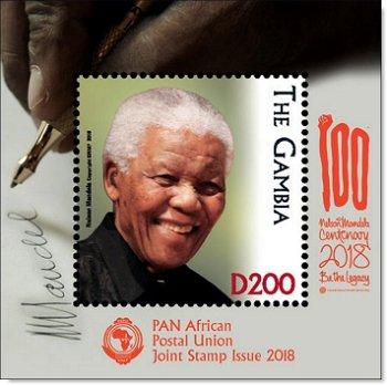 100. Geburtstag Nelson Mandela - Briefmarken-Block postfrisch, Gambia