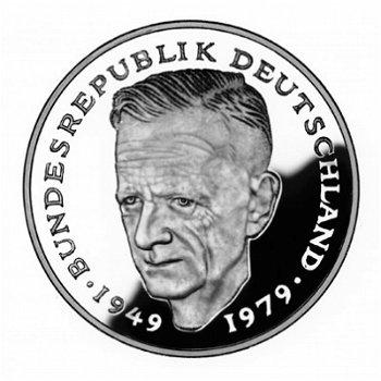 """2-DM-Münzen """"Kurt Schumacher"""" - Jahrgang 1985, alle vier Prägezeichen"""