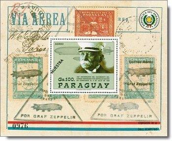 Ferdinand Graf von Zeppelin - Briefmarken-Block, Katalog-Nr. 4247 Bl. 452, Paraguay