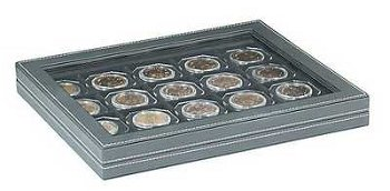 Münzkassette NERA M PLUS mit Sichtfenster u. schwarzer Münzeinlage für 20 Münzrähmchen 50x50 mm, Lin
