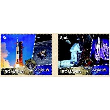 Weltraum: 50 Jahre Mondlandung / Apollo 11 - 2 Briefmarken postfrisch, Rumänien