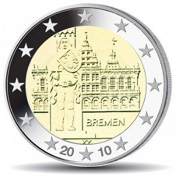 2 Euro Münze 2010, Rathaus & Roland / Bremen, Deutschland, 1 Prägezeichen