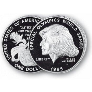 Paralympics Atlanta - Silberdollar 1995, 1 Dollar Silbermünze, USA